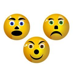 three smiley vector image