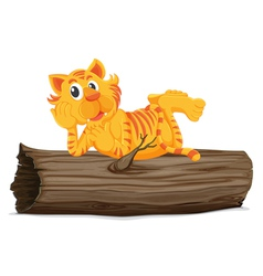 Tiger on a log vector
