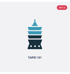 Two color taipei 101 icon from monuments concept vector
