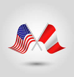 Two crossed american and peruvian flags vector