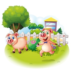 Two playful pigs near the wooden fence vector