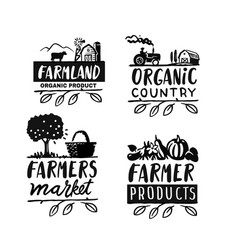 village emblem with text farmer signs for vector image