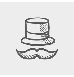Vintage fashion hat and mustache sketch icon vector image