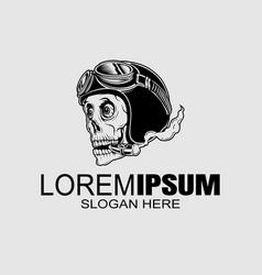 Vintage style skull helmet logo icon or skull of vector