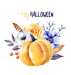 watercolor happy halloween greeting card painted vector image