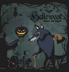 Werewolf holding skull on halloween vector
