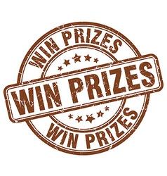 Win prizes brown grunge round vintage rubber stamp vector