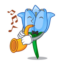 with trumpet bell flower mascot cartoon vector image