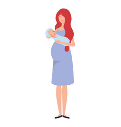 Woman standing with a newborn bain her arms vector