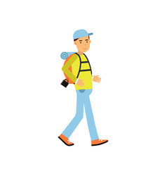 Young man tourist walking with hiking backpack on vector