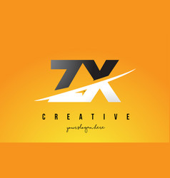 zx z x letter modern logo design with yellow vector image