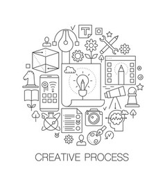 creative process in circle - concept line vector image vector image