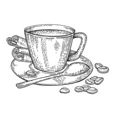cup of coffee and beans engraving style vector image vector image