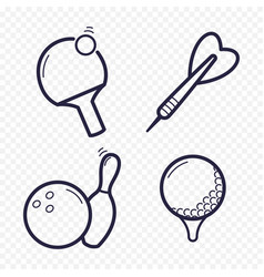 games linear icons ping-pong golf bowling vector image vector image