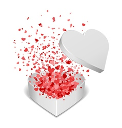heart gift present with fly hearts vector image vector image