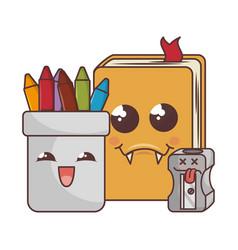 school elements funny characters vector image vector image