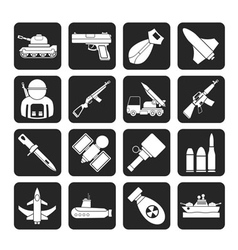 Silhouette weapon and arms Icons vector image vector image