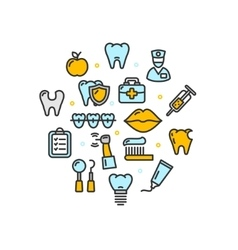 Stomatology Round Design Template Thin Line Icon vector image