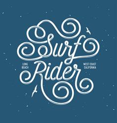 surf rider lettering poster vintage vector image vector image