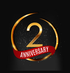 template gold logo 2 years anniversary with red vector image