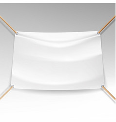 white banner with ropes empty textile vector image vector image