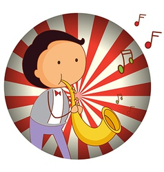 A man playing with the trombone vector image vector image