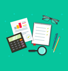 analytics planning things data on table top view vector image vector image