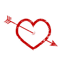 heart and arrow rubber stamp vector image
