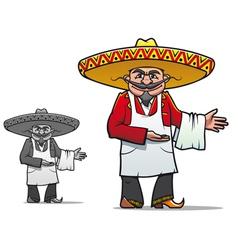 Mexican chef in sombrero vector image