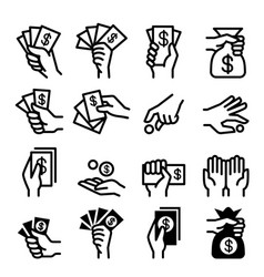 money and hand icon set vector image vector image