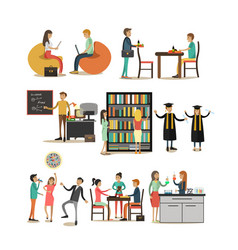 set of university people icons in flat vector image vector image