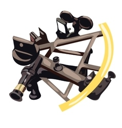 Sextant in cartoon style on white background vector image