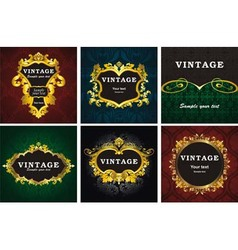 Vintage gold labels vector image
