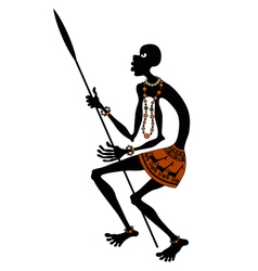 African warrior with spear vector image vector image