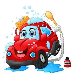 Cartoon car wash character vector image