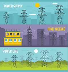 electrical tower banner horizontal set flat style vector image vector image