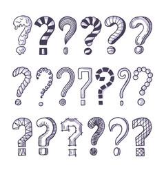 monochrome pictures set of question marks doodle vector image