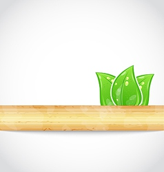 Natural background with eco green leaves and wood vector image vector image