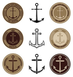 Set of the nautical labels vector image vector image