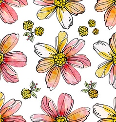 floral seamless texture of watercolor vector image