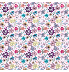 lovely seamless cartoon flowers vector image