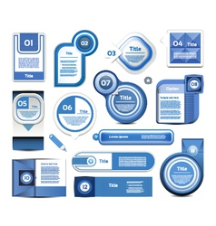 Set of blue progress version step icons vector image vector image