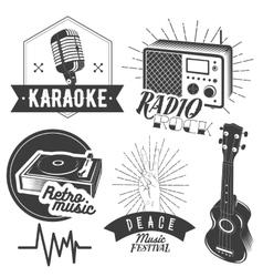 set of karaoke and music labels in vintage vector image vector image