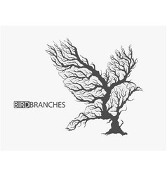 silhouette of bird from branches of tree vector image