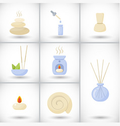 spa flat icons set vector image