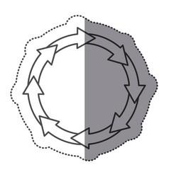 sticker silhouette set collection circular arrow vector image