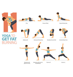 11 yoga poses for fat burning concept vector