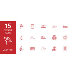 15 vacation icons vector image