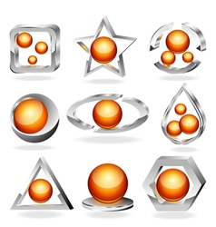 3d business abstract icons set vector image vector image