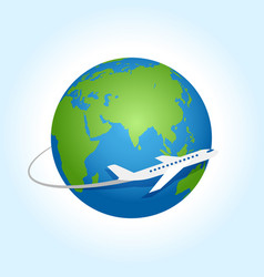 Airplane fly around planet earth logo vector